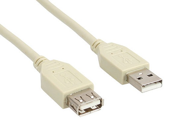 USB 2.0 extension cable, beige, A M/F, 5m