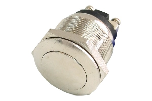 Phobya push-button vandalism-proof / bell push 19mm - oval - silver nickel coated, without lighting