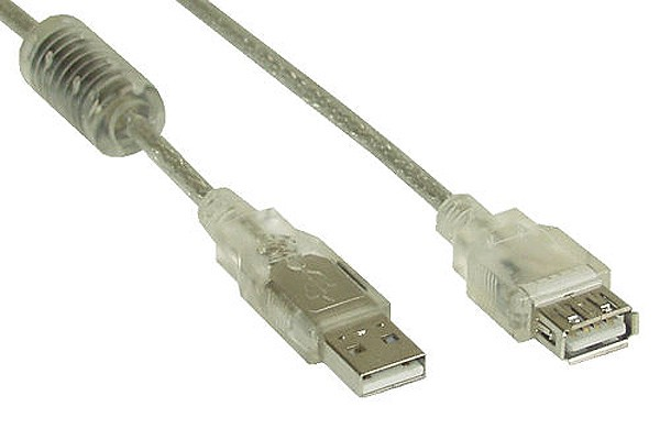 InLine® USB 2.0 extension cable, transparent, A M/F, with feritte, 3m