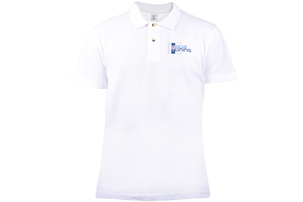 Aquatuning Men Polo-Shirt white with logo (www.aquatuning.com) size L