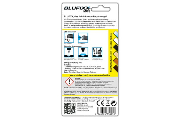BLUFIXX Light curing repair gel - Complete Kit for Metal, Glas & Stone - Refill Stick White
