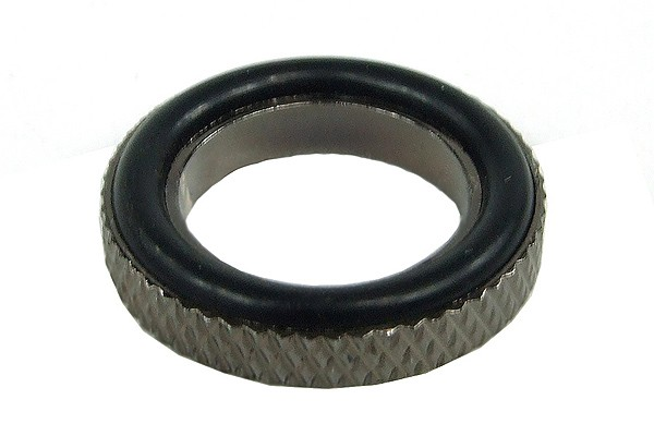 Spacer ring 3mm - knurled – silver black plated