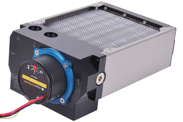Aquacomputer airplex modularity system 140 mm, aluminum fins, D5 pump, stainless steel side panels