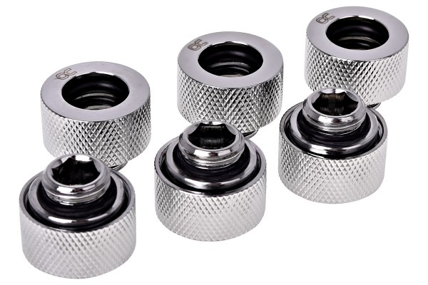 Alphacool HT 13mm HardTube compression fitting G1/4 - knurled - chrome sixpack