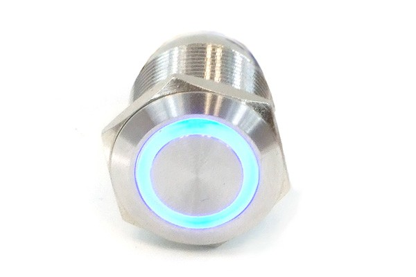 Phobya push-button vandalism-proof / bell push 19mm stainless steel, blue lighting, with screw-on contacts 6pin