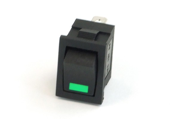Phobya rectangular toggle switch - LED green - unipolar ON/OFF black (3-Pin)