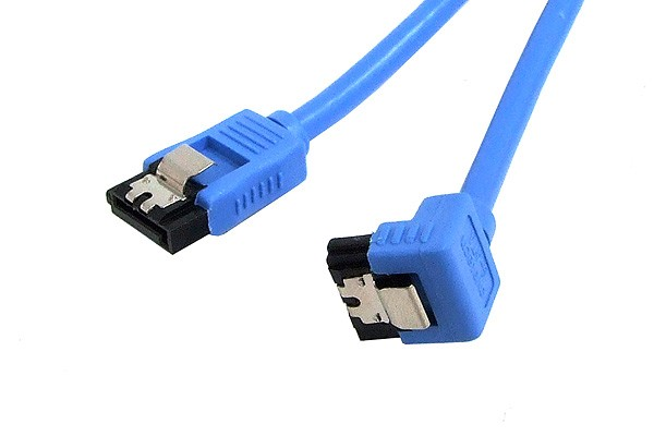 SATA round cable, blue, one side angled 90°, with latches, 0.3m