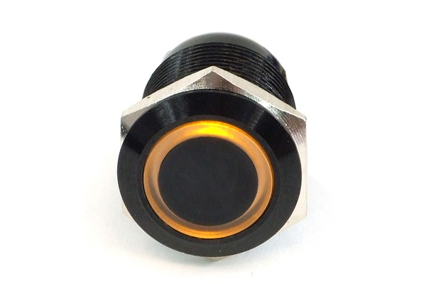 Phobya push-button vandalism-proof / bell push 19mm alu black, yellow ring lighting 6pin