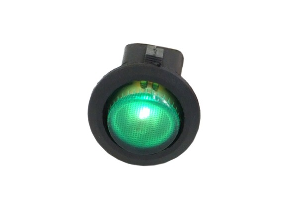 Phobya round toggle switch - green lighting - unipolar ON/OFF black (3-Pin)