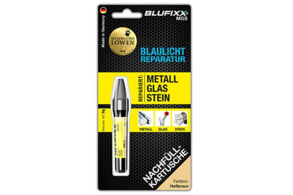 BLUFIXX Light curing repair gel - Complete Kit for Metal, Glas & Stone - Refill Stick Light Brown