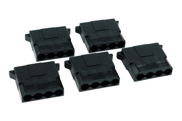 Phobya PSU Power Connector 4Pin Molex male incl. 4 Pins - 5 pcs black