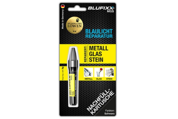 BLUFIXX Light curing repair gel - Complete Kit for Metal, Glas & Stone - Refill Stick Black