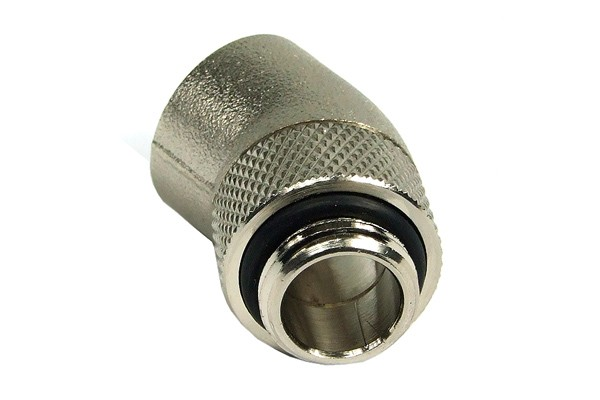 "angled 30° adaptor revolvable G1/4"" to G1/4"" inner thread - round - silver nickel plated"