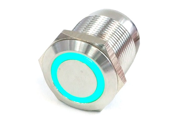 Phobya push-button vandalism-proof / bell push 19mm stainless steel, green ring lighting 6pin
