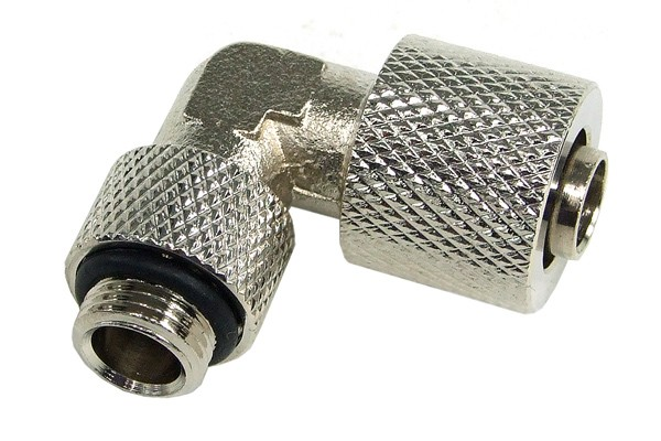 10/8mm (8x1mm) compression fitting G1/8 90° revolvable - knurled silver