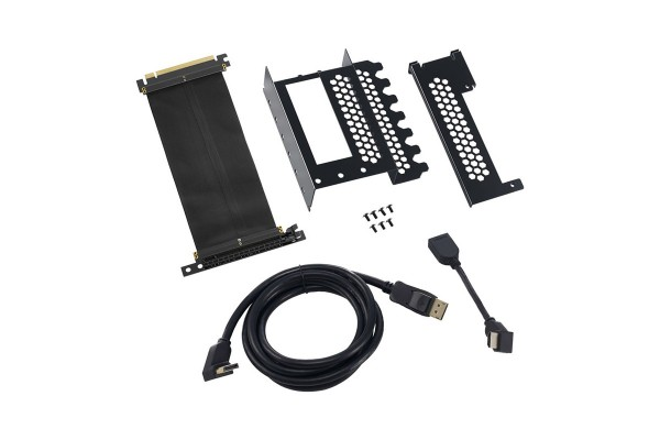 CableMod vertical graphics, card holder with PCIe x16 Riser cable, 1x DisplayPort, 1x HDMI - black