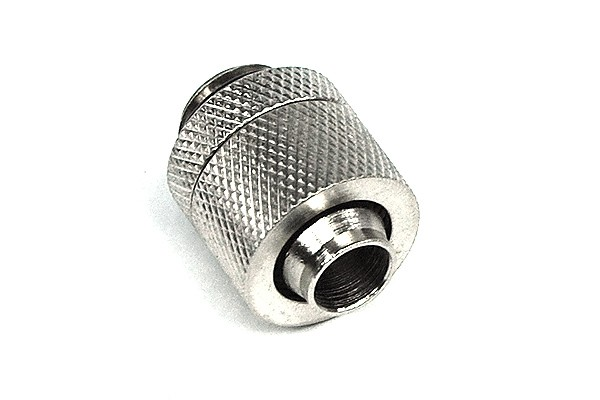 13/10mm (10x1,5mm) compression fitting outer thread 1/4 - gerändelt - silver nickelt