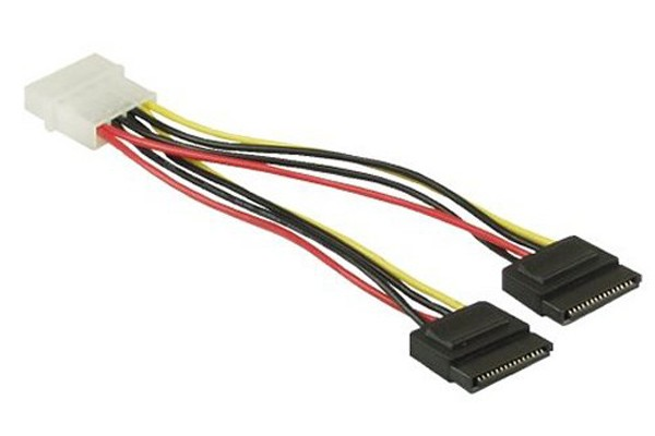 InLine® KAB Strom/SATA Y-cable internal 4Pin Molex to 2x SATA 15cm