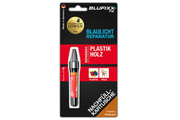BLUFIXX Light curing repair gel - Complete Kit for Metal, Glas & Stone - Refill Stick Redbrown