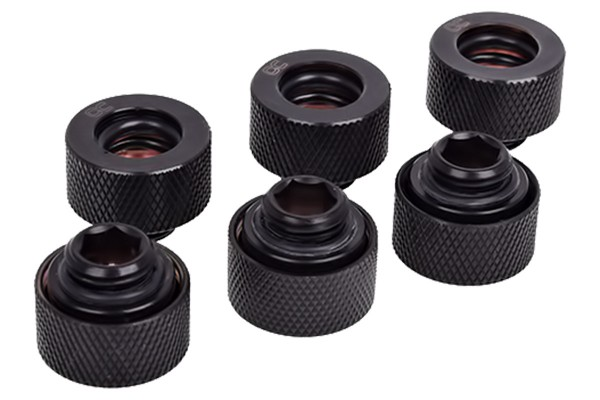 Alphacool HT 13mm HardTube compression fitting G1/4 - knurled - deep black sixpack