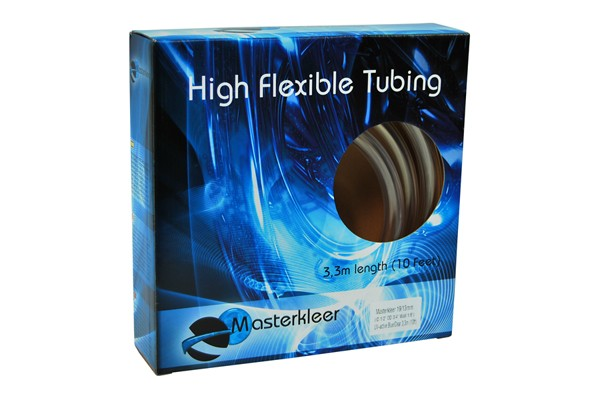 "Masterkleer tubing PVC 19/13mm (1/2""ID) UV-reactive blue/clear 3,3m (10ft) ""Retail Package"""